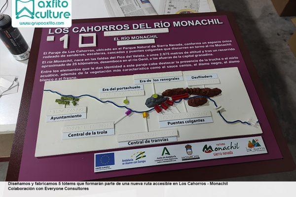 Tótems con relieves para ruta accesible en Los Cahorros – Monachil